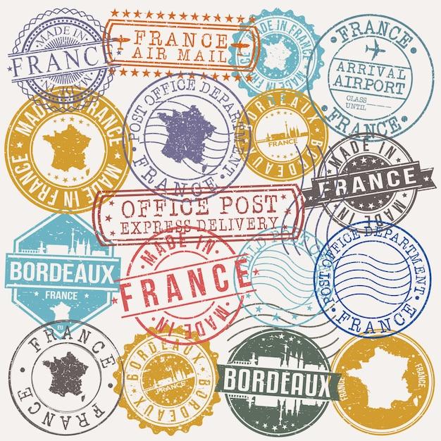 Bordeaux france set de timbres de voyage et d'affaires Vecteur Premium