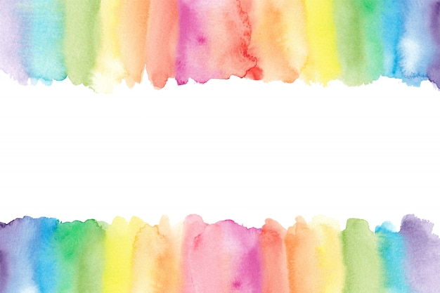 Bordure Arc-en-ciel Aquarelle. Fond Arc-en-ciel Peint Vecteur Premium