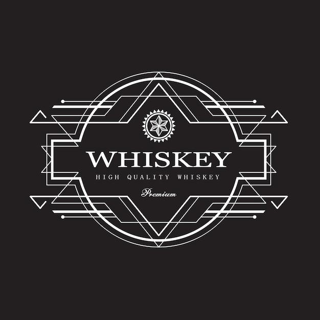 Bordure De Cadre Antique Design Art Déco étiquette De Whisky Vecteur Premium