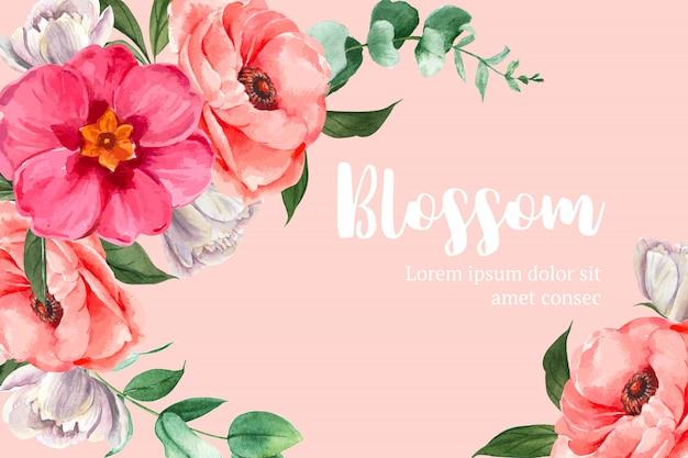 Bordure de cadre aquarelle fleur botanique fleurissant Vecteur gratuit