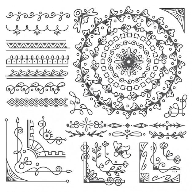 Bordure et cadre dessinés à la main, élément de conception de carte de mariage Vecteur Premium