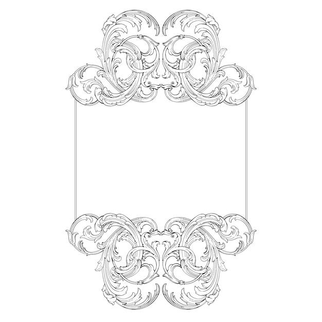Bordure Et Cadre De Style Baroque. éléments D'ornement Pour Votre Conception. Couleur Noir Et Blanc. Décoration De Gravure Florale Vecteur Premium