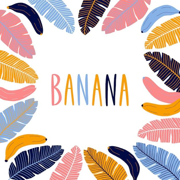Bordure Carrée Colorée Avec Des Bananes. Vecteur Premium