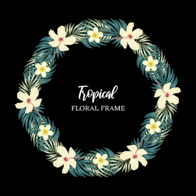 Bordure de cercle de fleurs tropicales Vecteur Premium