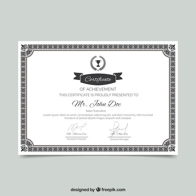 Bordure de certificat avec ornement Vecteur gratuit