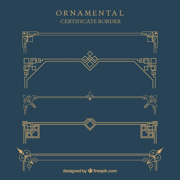 Bordure de certificat ornemental Vecteur gratuit