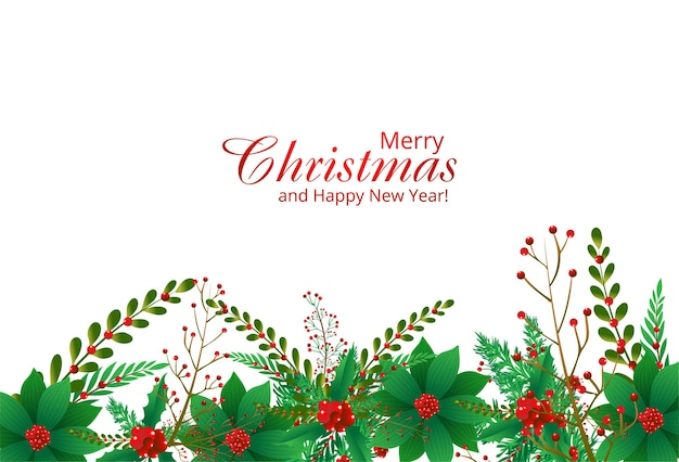 Bordure Décorative D'un Fond De Branches D'ornements De Noël Vecteur gratuit