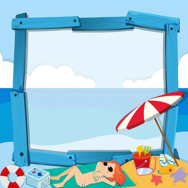 Bordure design avec fille sur la plage Vecteur gratuit