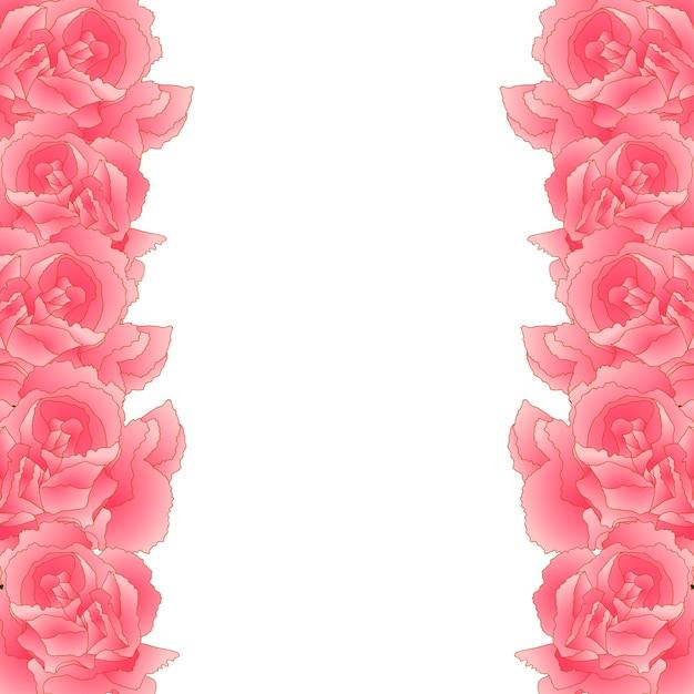 Bordure de fleur d'oeillet rose Vecteur Premium
