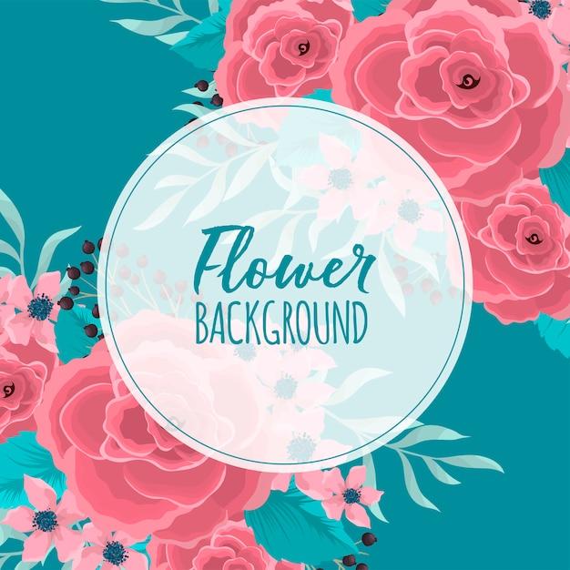 Bordure fleurie cercle fleurs roses à fond vert menthe Vecteur gratuit