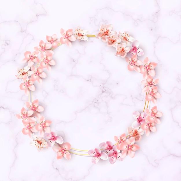 Bordure de fleurs de cerisier Vecteur gratuit