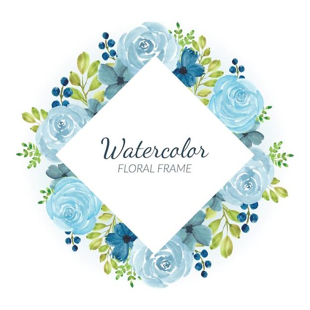 Bordure Florale Aquarelle Rose Bleue Vecteur Premium