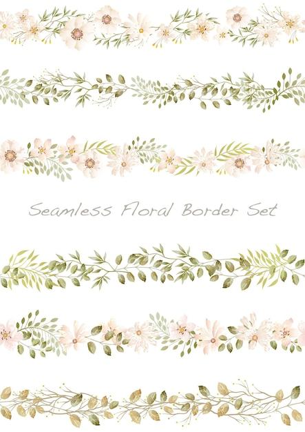 Bordure Florale Aquarelle Vectorielle Continue Sur Un Blanc Vecteur gratuit