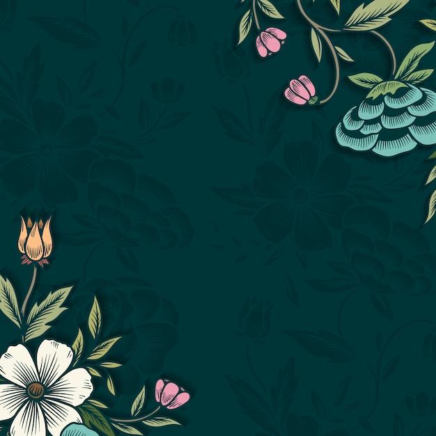 Bordure Florale Avec Espace De Copie Vecteur gratuit