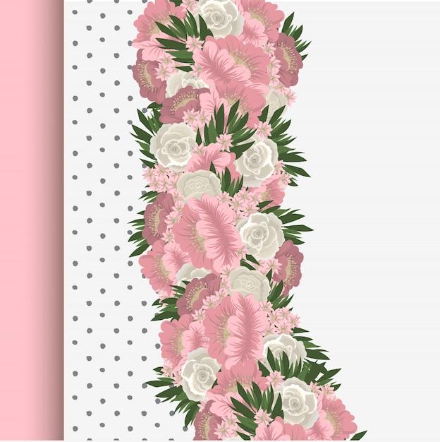 Bordure Florale Avec Fleurs Roses Et Blanches Vecteur gratuit