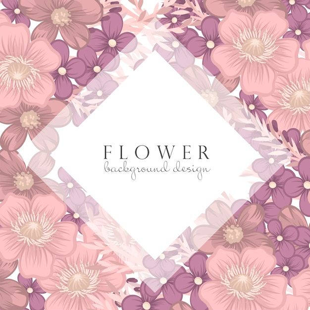Bordure florale rose et violette Vecteur gratuit
