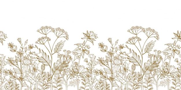 Bordure Florale Transparente Avec Des Herbes Dessinées à La Main Noir Blanc Et Fleurs Sauvages Vecteur Premium