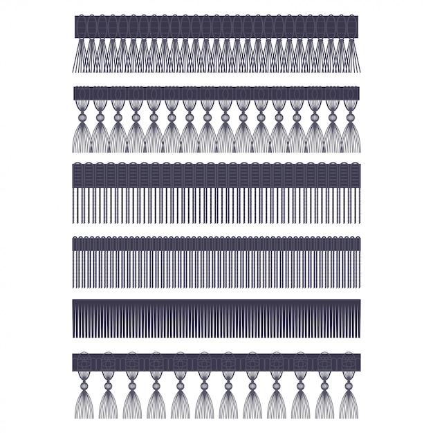 Bordure frange avec pinceau et gland garniture vector ensemble de frontières sans soudure isolé sur fond blanc. Vecteur Premium