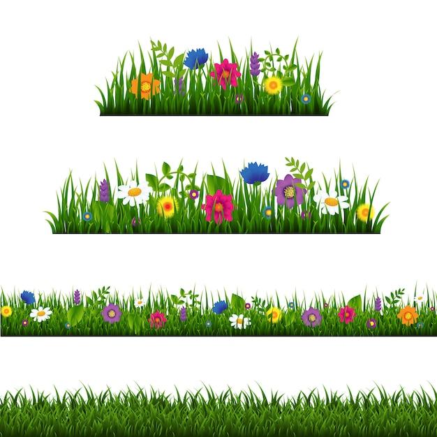 Bordure d'herbe avec collection de fleurs isolée Vecteur Premium