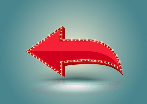 Bordure lumineuse rétro flèche rouge. Vecteur Premium