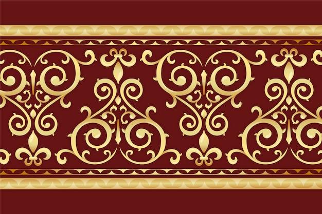 Bordure Ornementale Dorée Avec Fond Rouge Vecteur gratuit