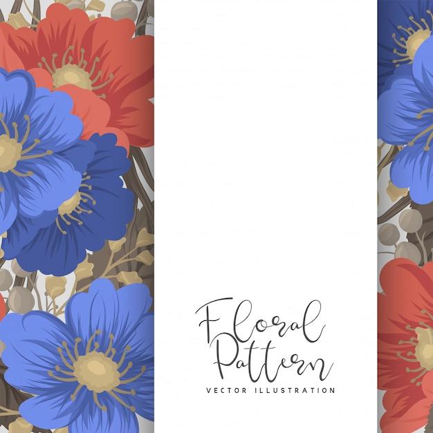 Bordure De Page De Fleurs - Fleurs Bleues Et Rouges Vecteur gratuit