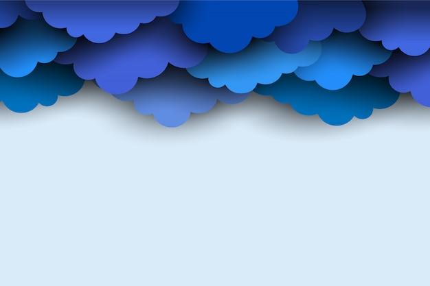 Bordure de papier bleu couper les nuages pour le fond de la conception Vecteur Premium