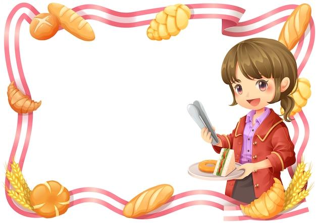Bordure de ruban fille de bureau et boulangerie Vecteur Premium