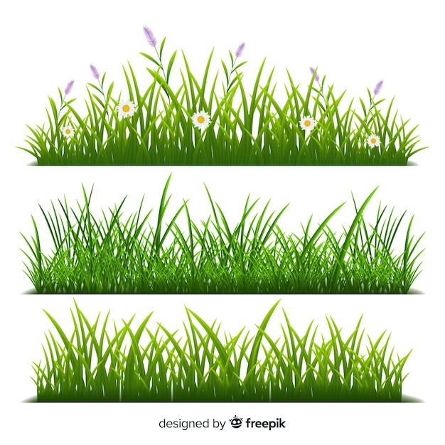 Bordure de style réaliste d'herbe Vecteur gratuit