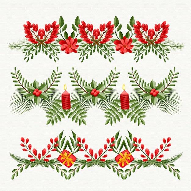 Bordures Et Cadres De Noël Aquarelle Vecteur gratuit