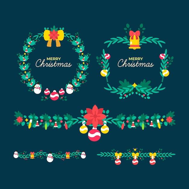 Bordures Et Cadres De Noël Design Plat Vecteur gratuit
