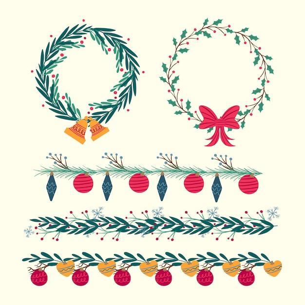 Bordures Et Cadres De Noël Dessinés à La Main Vecteur Premium