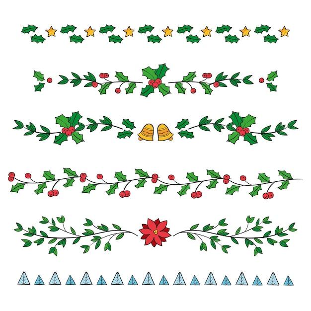 Bordures Et Cadres De Noël Dessinés à La Main Vecteur gratuit