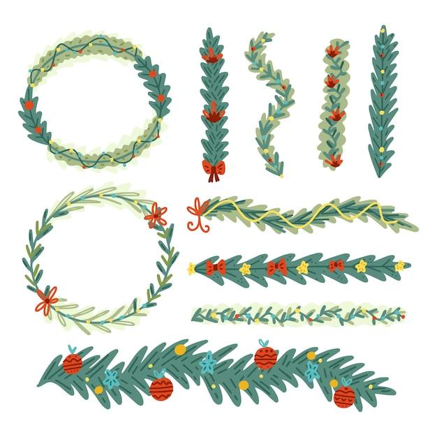 Bordures Et Cadres De Noël Vecteur gratuit