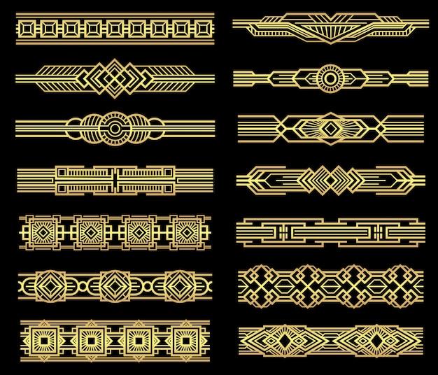 Bordures de lignes art déco définies dans un style graphique des années 1920. Vecteur Premium