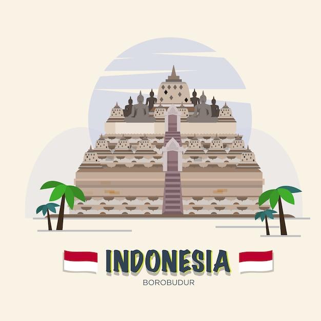 Borobudur. point de repère indonésien. ensemble asiatique. Vecteur Premium