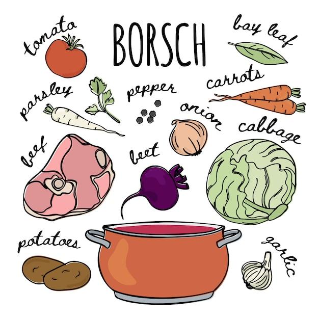 Borscht recipe cuisine russe soupe Vecteur Premium