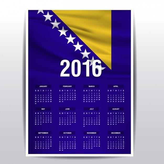 Bosnie-herzégovine calendrier 2016 Vecteur gratuit