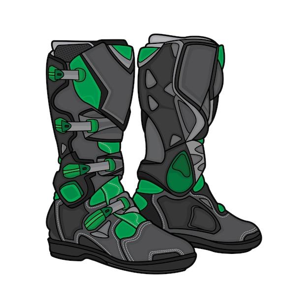 Bottes motocross noires et vertes Vecteur Premium