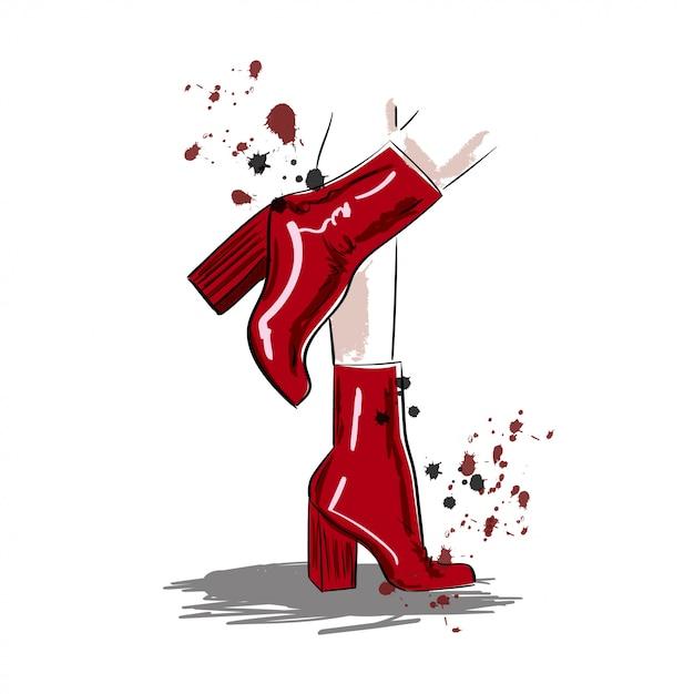 Bottes rouges en illustration de jambes femme Vecteur Premium