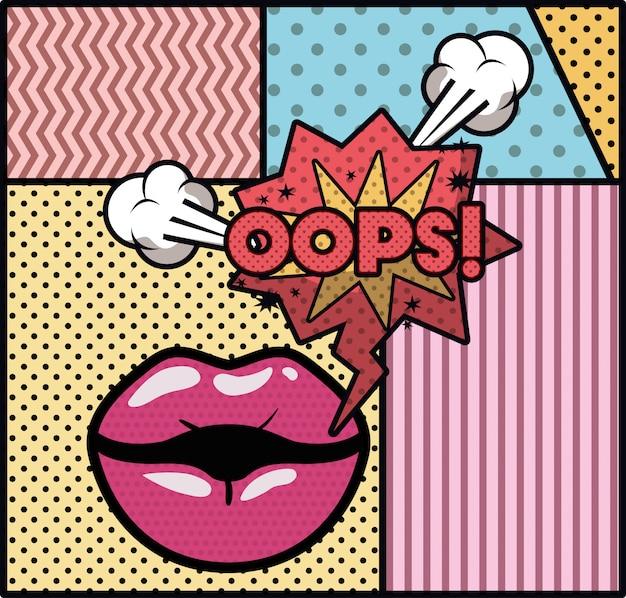 Bouche disant oops style pop art Vecteur Premium
