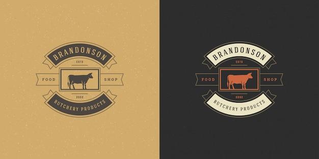 Boucherie Logo Vector Illustration Tête Silhouette Pour Badge De Ferme Ou De Restaurant Vecteur Premium