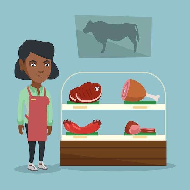 Boucherie offrant de la viande fraîche dans la boucherie. Vecteur Premium