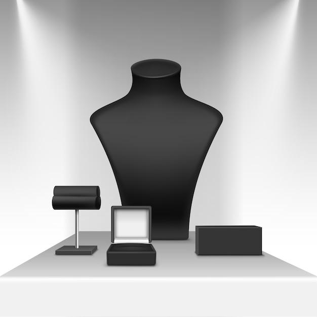 Boucles D'oreilles Collier Noir Et Support De Bracelet Pour Bijoux Avec Boîte Vecteur Premium