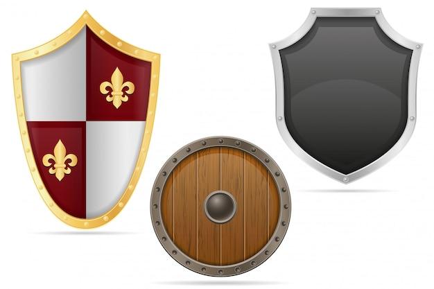 Bouclier de bataille médiéval Vecteur Premium