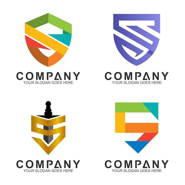Bouclier collection de designs de logo Vecteur Premium