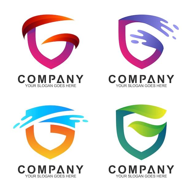 Bouclier lettre g modèles de logo d'entreprise Vecteur Premium