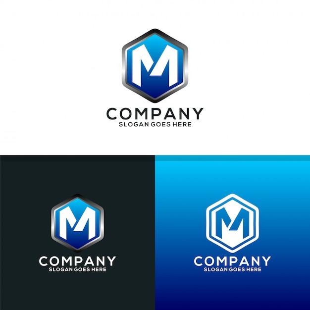 Bouclier de m logo design Vecteur Premium