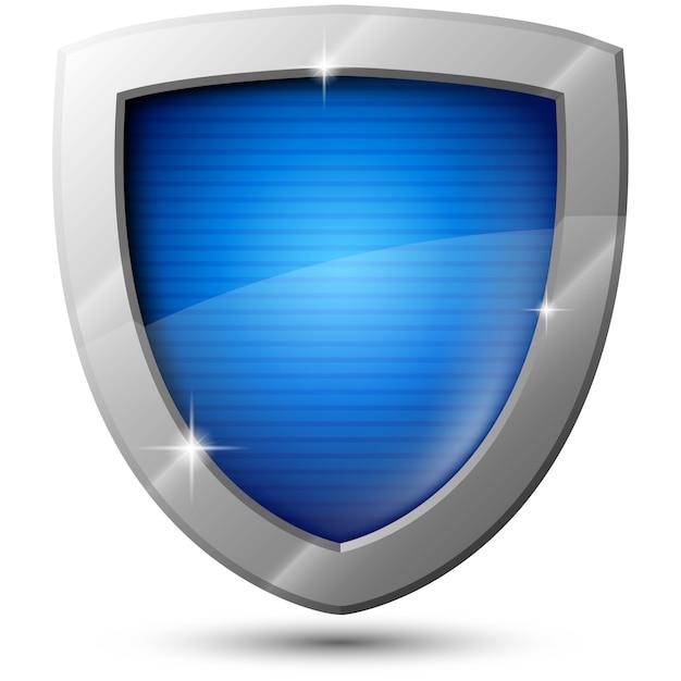 Bouclier métallique vecteur bleu avec des étincelles Vecteur Premium
