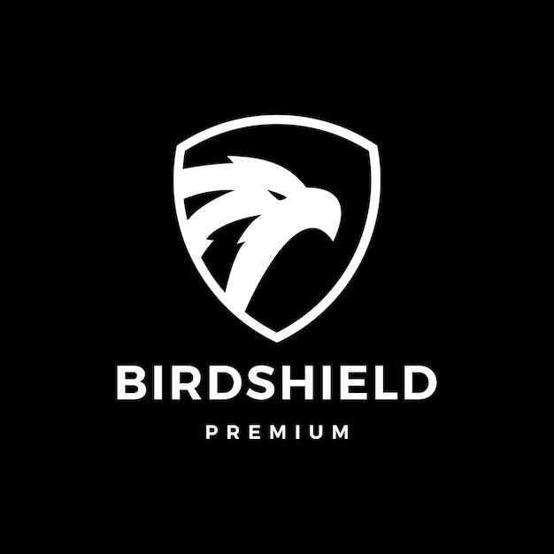 Bouclier D'oiseau Aigle Faucon Logo Icône Illustration Vecteur Premium